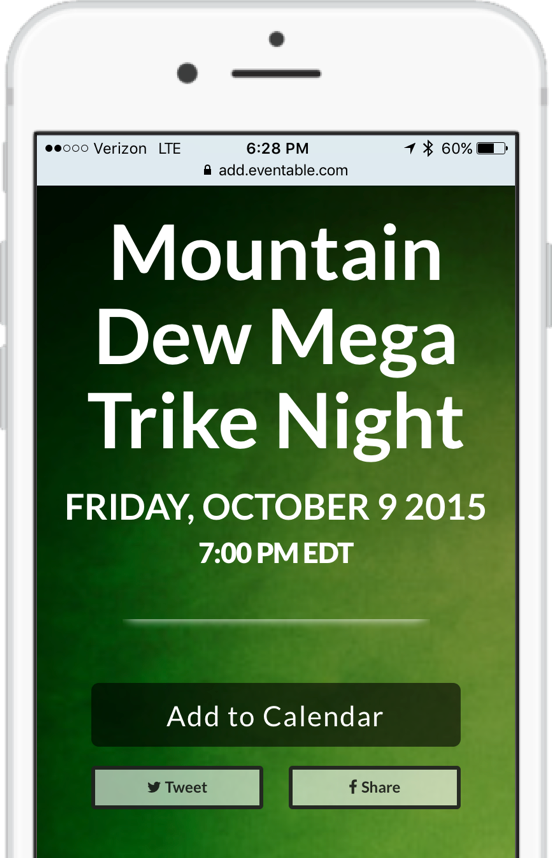 Mountain Dew Event on iPhone Calendar