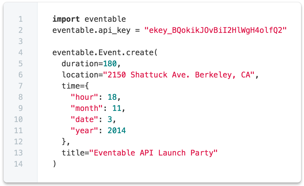 Eventable Developer API
